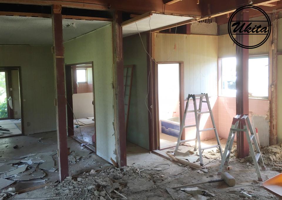 古民家リノベーション和室廊下工事中